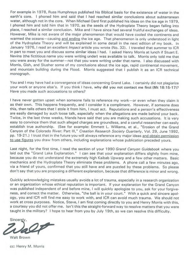 Page 2 of Walt Brown's 1993 letter to Steve Austin and Henry Morris re Plagiarism