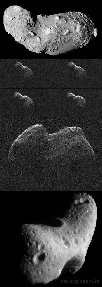 Photos of four peanut shaped asteroids