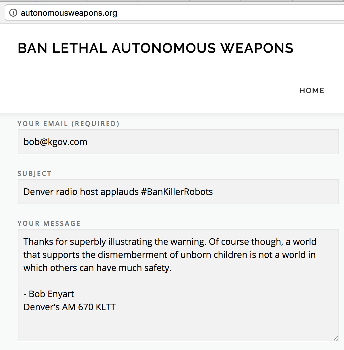Enyart's comment at AutonomousWeapons.org supporting a ban and decrying the dismemberment of unborn children...