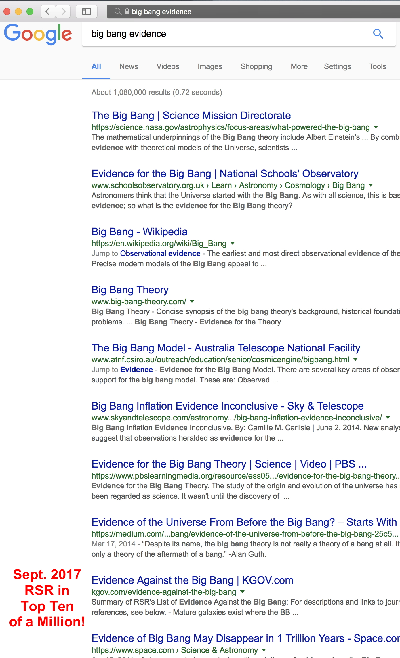 Screenshot Google big bang evidence search, RSR in top ten!