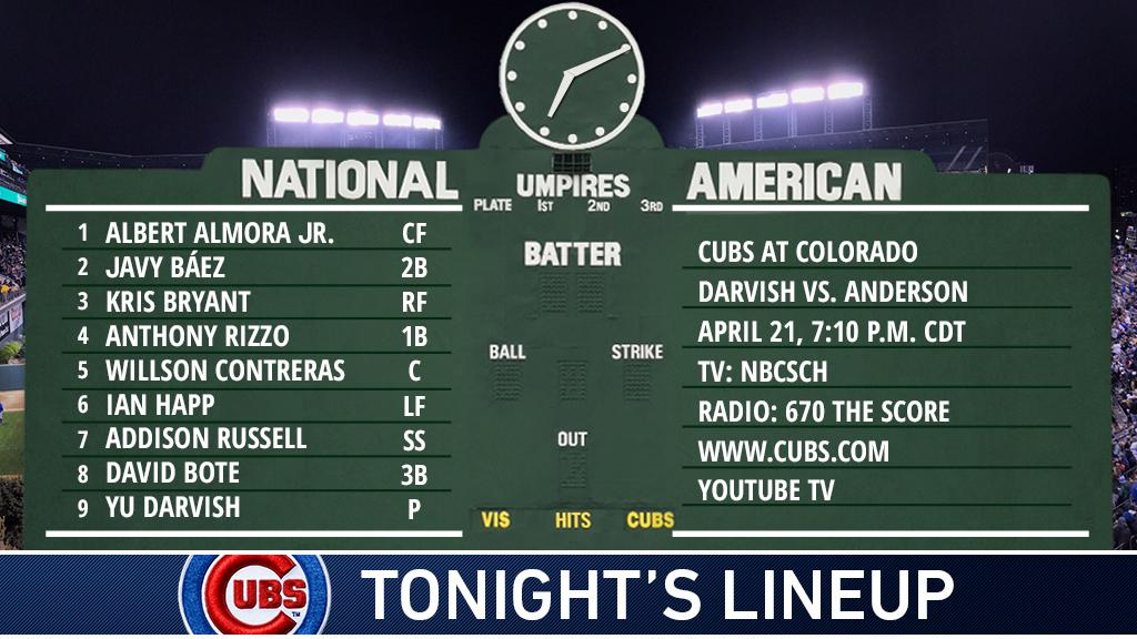 David Bote in the starting line-up with the Cubs at Coors Field...