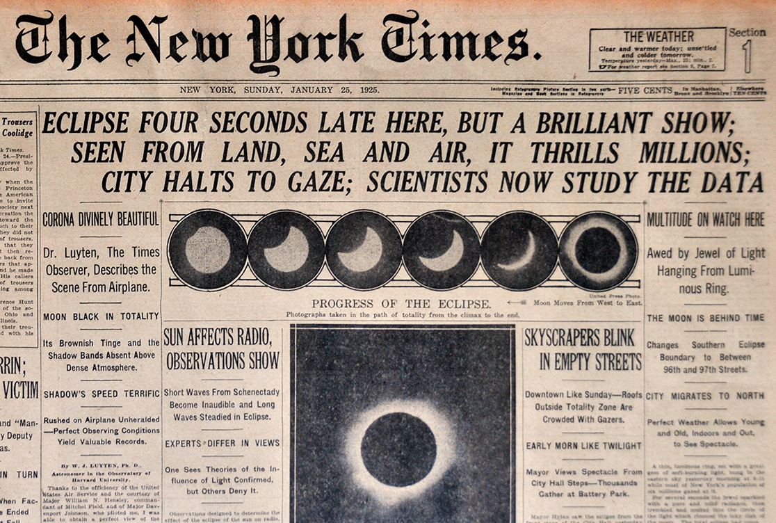 1925 New York Times report on an eclipse...