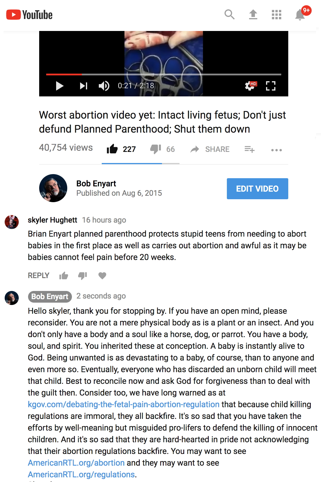 YouTube comment shows that fetal pain regulations actually promote abortion