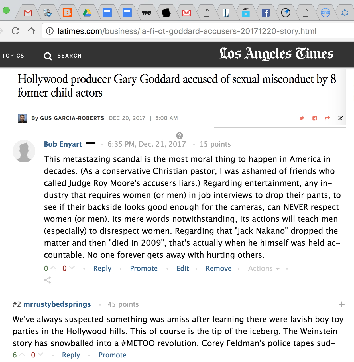 Enyart comment in LA Times condemning Hollywood for sexual immorality in entertainment