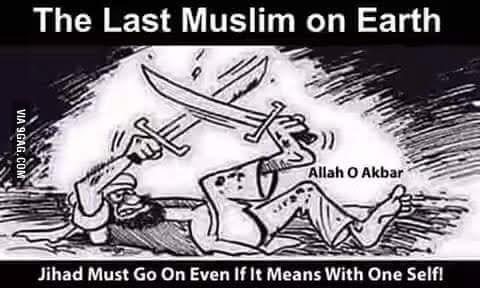 Last Muslim on Earth in jihad fighting against himself...