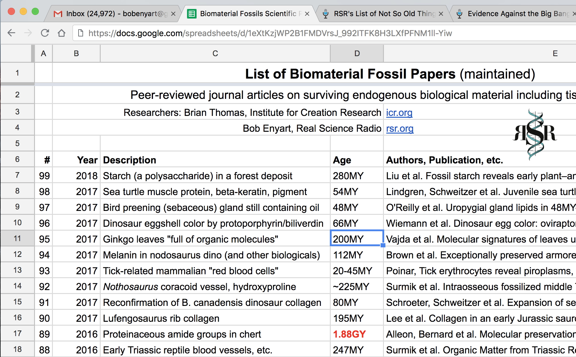 Screenshot of the web's most comprehensive list of biomaterial fossil papers