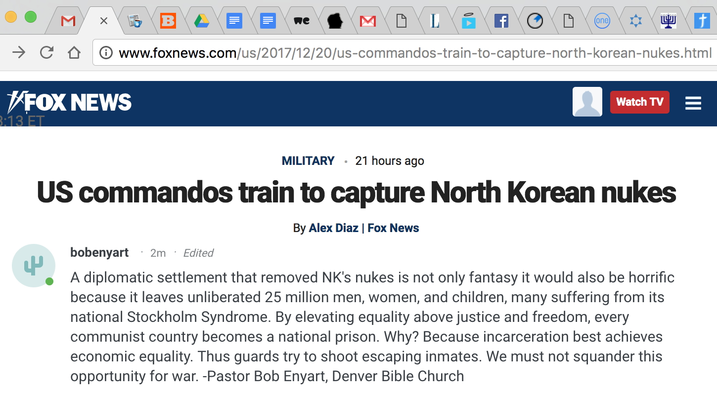 Enyart North Korea cmt on Fox News website: Don't squander opportunity for war