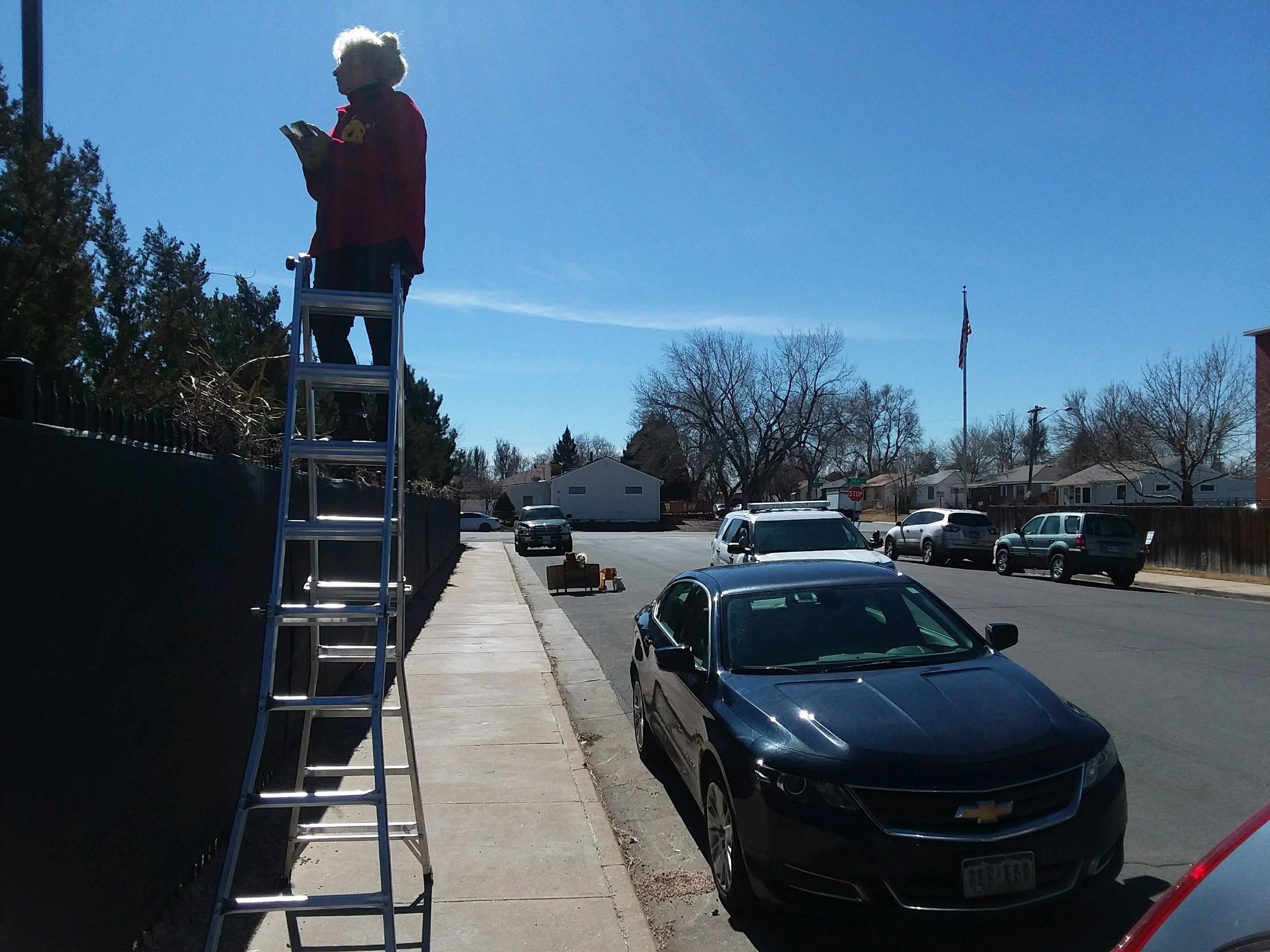 The day Denver police charge abolitionist Ken Scott, Jo Scott's husband, with ladder-blocking Planned Parenthood's sidewalk