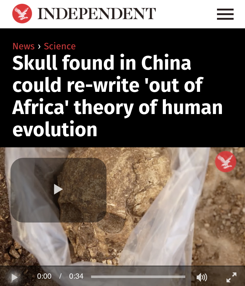 Skull found in China AGAIN rewriting history of human evolution...