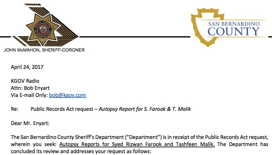 scanned portion of coroner response to kgov radio / bob enyart