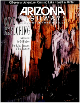 Cover of Arizona Hwys magazine with US Forest Service geologist interview on Carlsbad Caverns