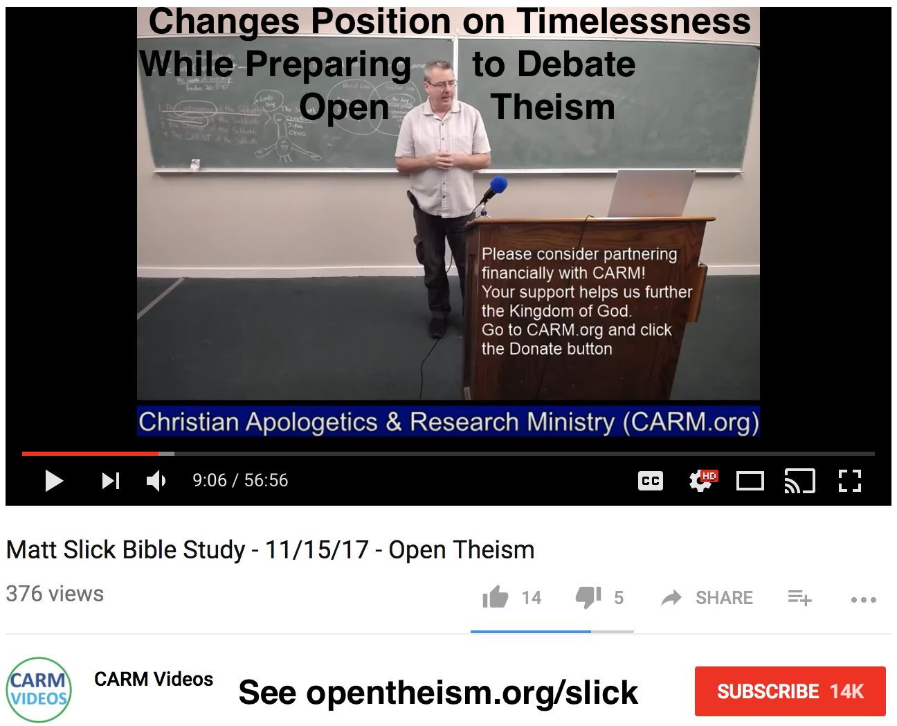 Screenshot of study 2-weeks before debate when Matt Slick still claimed that God exists outside of time...