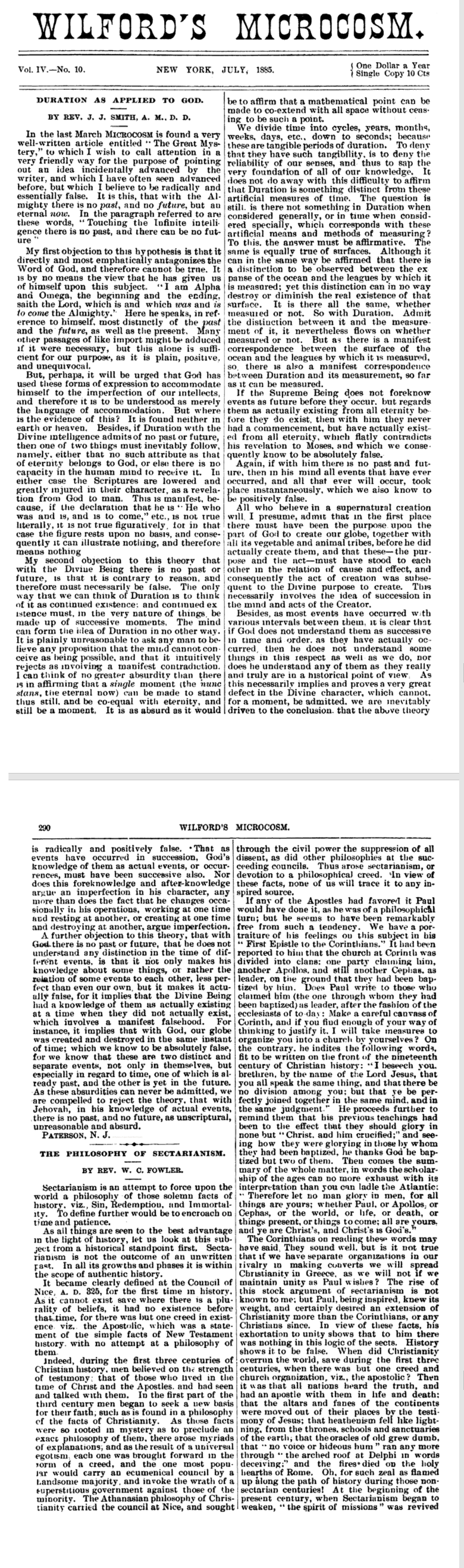 Scan of 1885 article, Duration as Applied to God by Rev. J. J. Smith