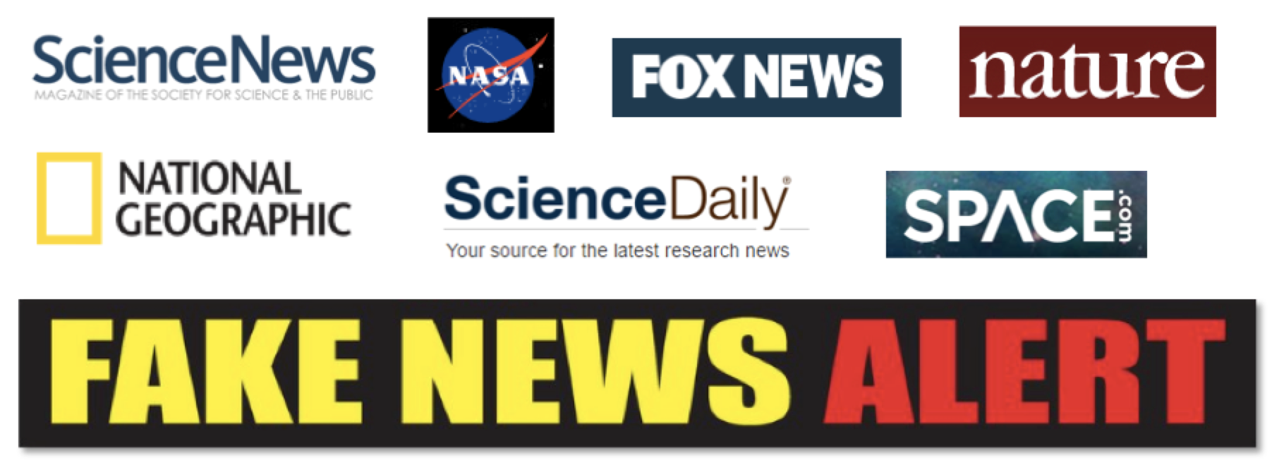 Fake News outlets logos of sources that report on scientific discoveries