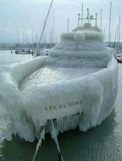 The USS Al Gore (fictional ship) covered in ice :)