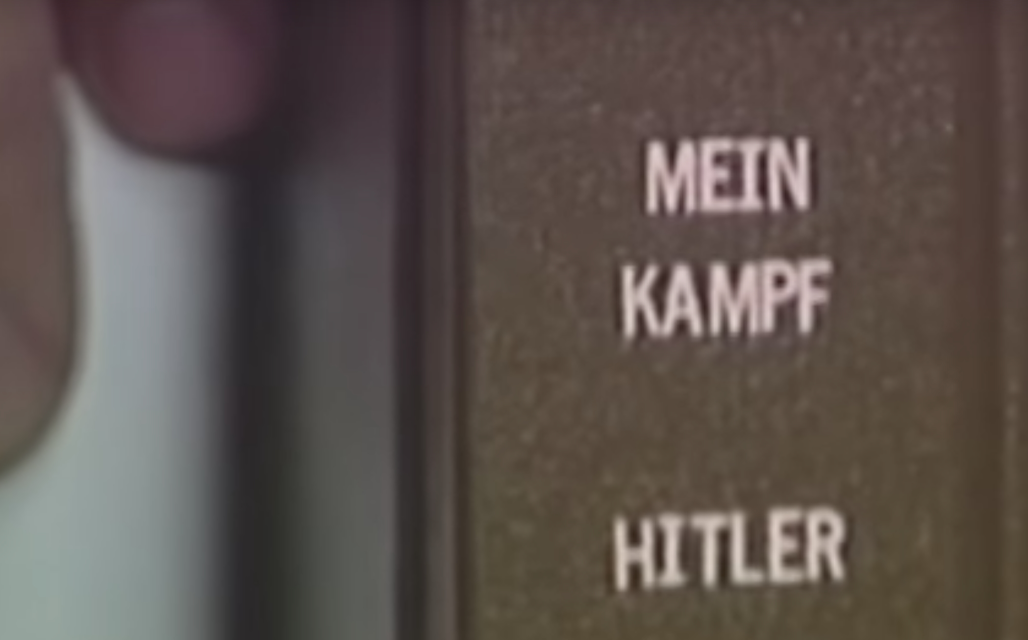 Photo of Bob reading Hillary Clinton's views in Hitler's Mein Kampf