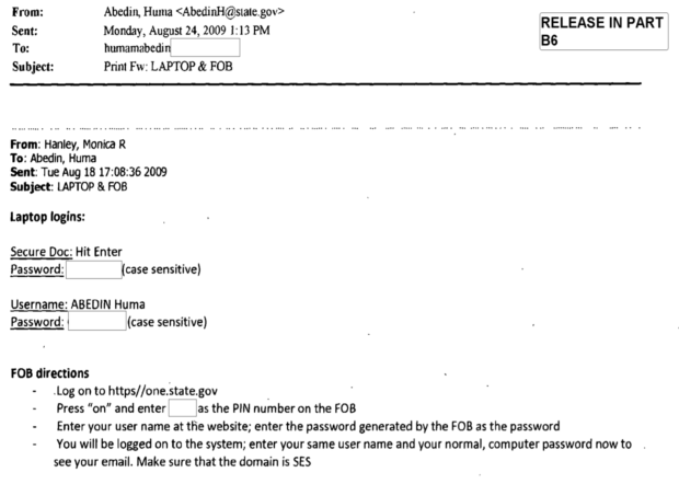 Screenshot of Huma emailing secure state department passwrods to her private email ID...