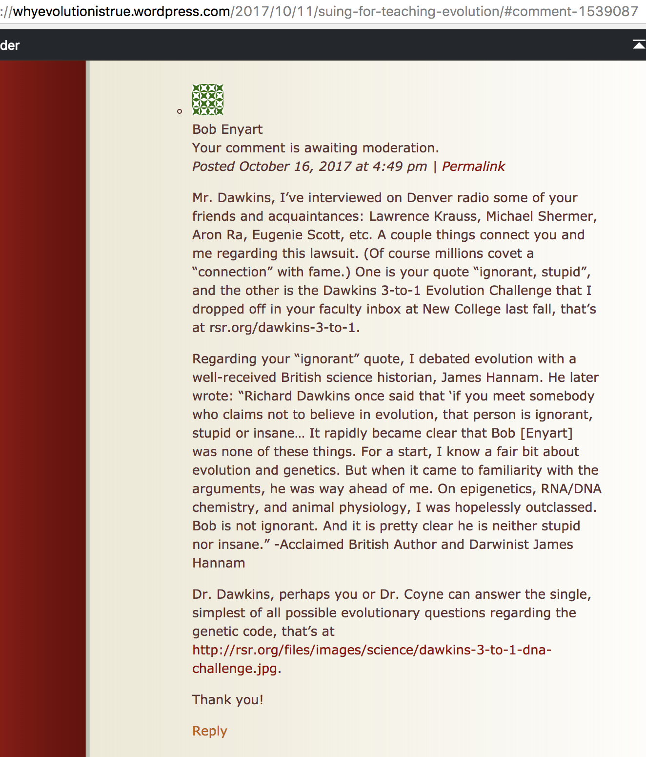 Screenshot of Bob's comment at Jerry Coyne's blog replying to a comment by Richard Dawkins
