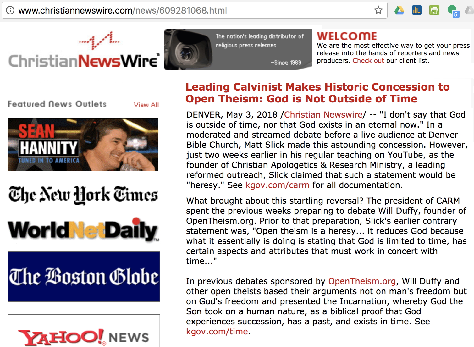 Screenshot of our press release: CARM's Historic Concession to Open Theism