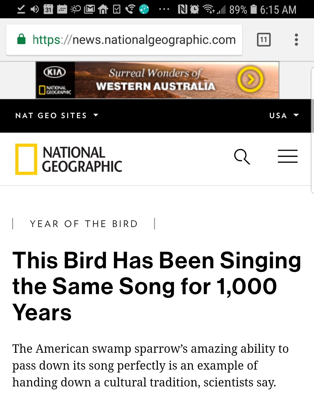 National Geographic fake news headline about birds singing same melody for 1,000 years