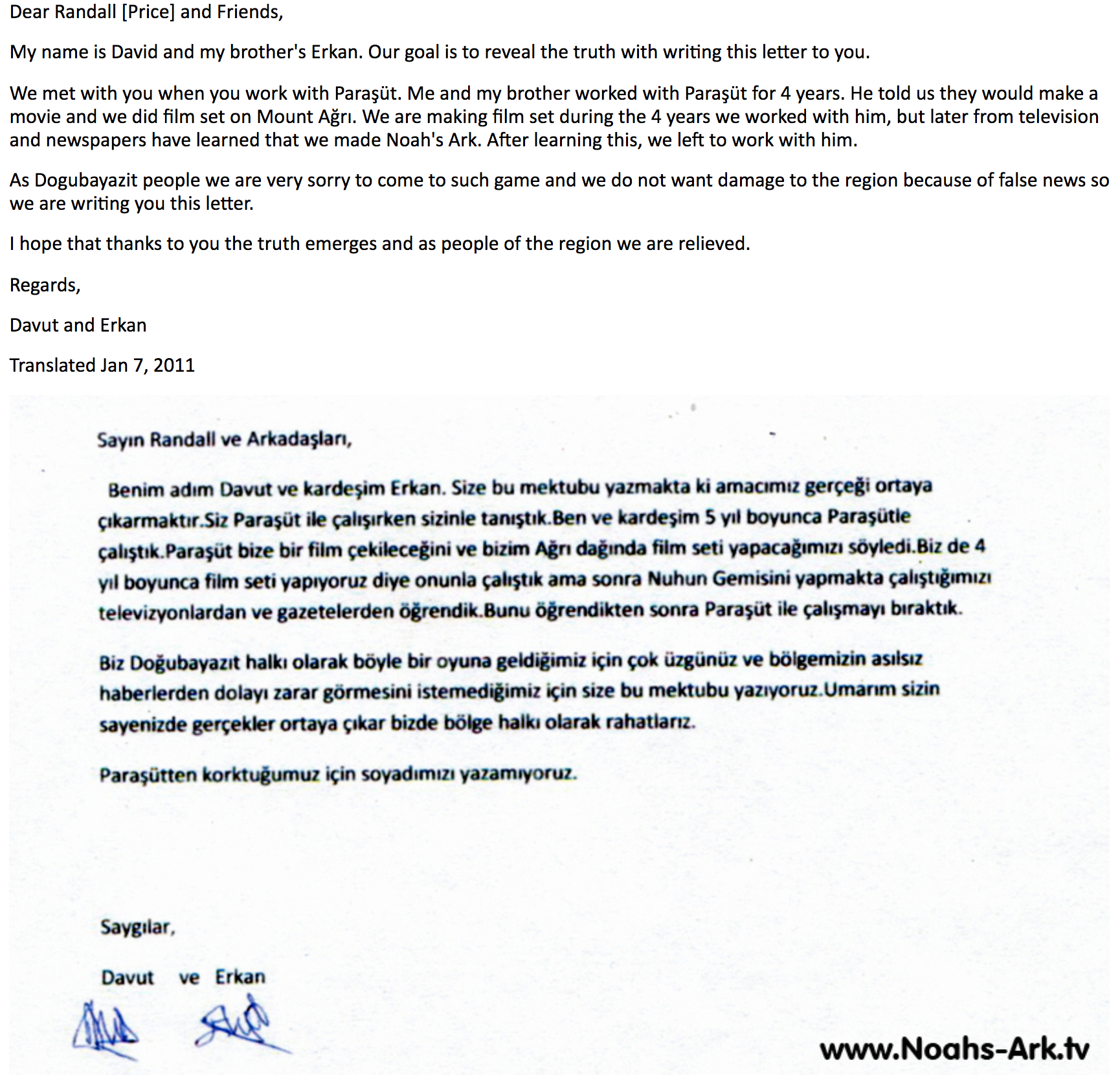 Apology letter from those who unwittingly build the fraudulent NAMI ark site