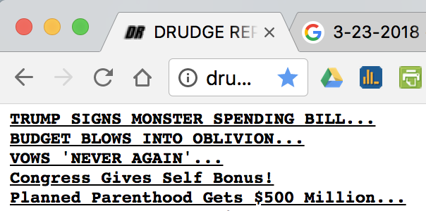 Drudge Report screenshot: Trump and Republican Congress fully funds PP at the $500M yearly Obama level