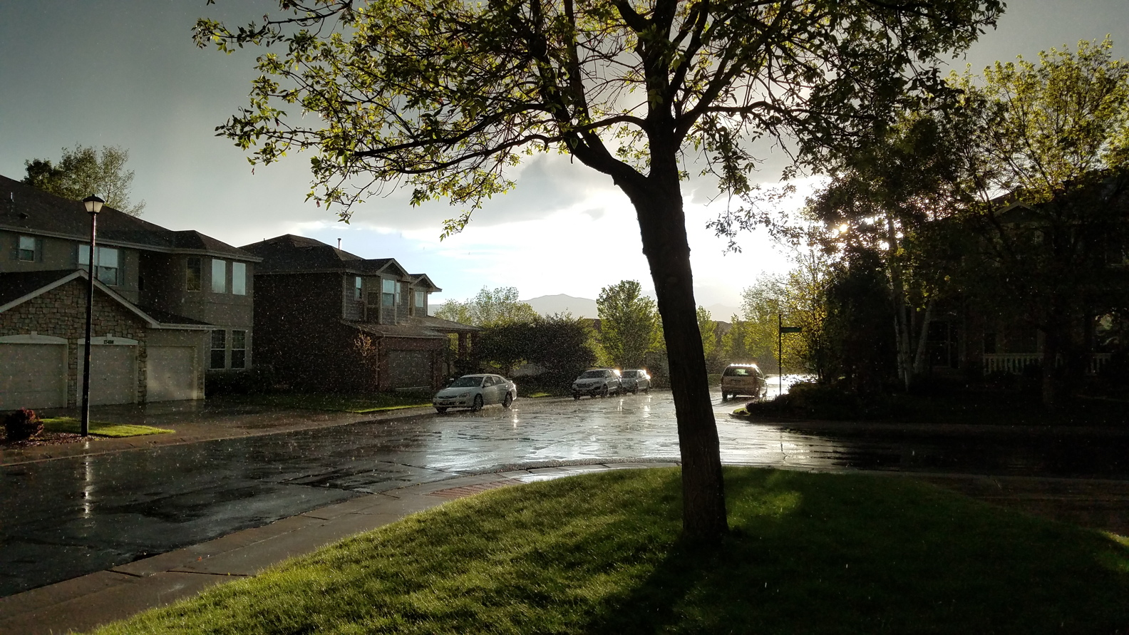 Rain in the sunshine, near the RSR studios
