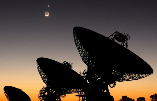 SETI photo of their radio telescopes